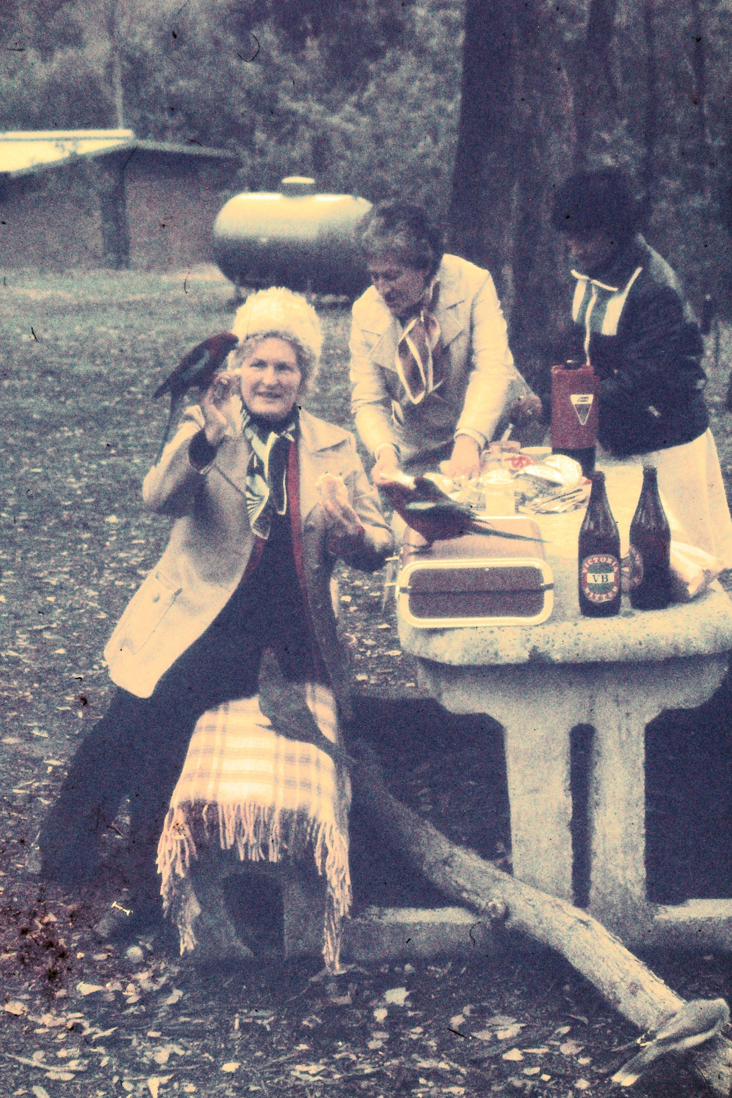 Nancy Murphy feeding gallahs