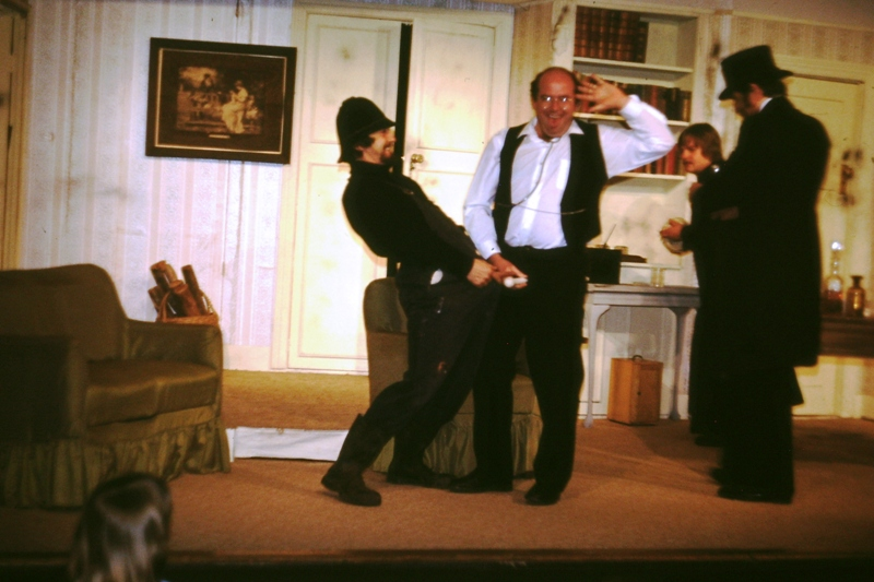 Theatre – Dr Frowsty does his Fred Scuttle impersonation while being molested by The Policeman