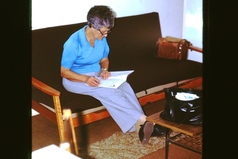 Betty at our flat – checking the lease?
